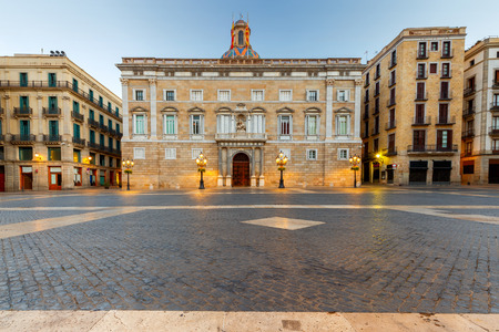 The ancient Gothic square of St. James early in the morning. Barcelona. Spain. Редакционное