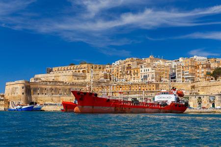 Mediterranean harbor In Valletta at dawn. Malta. Reklamní fotografie