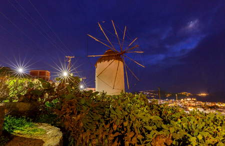 Mykonos. An old traditional windmill. Imagens
