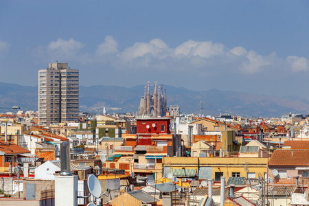 Aerial view on Barcelona from the top. Catalonia. Spain.