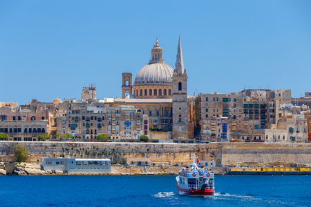 View of St. Pauls Cathedral on a sunny day. Malta. Valletta.