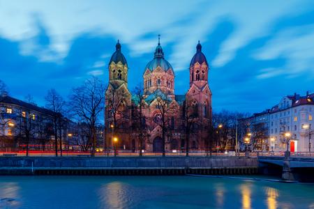 Church of St. Luke in the night illumination. Munich. Bavaria