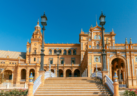 Facades of buildings on the Spanish square or the Plaza de Espana. Andalusia. Reklamní fotografie