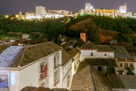 Walls and towers of the fortress of the Alhambra at night in Granada. Andalusia. Spain.