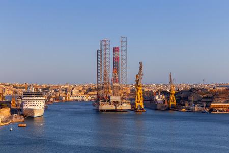 Mediterranean harbor of Valletta in the sunny day. Malta. Stock Photo