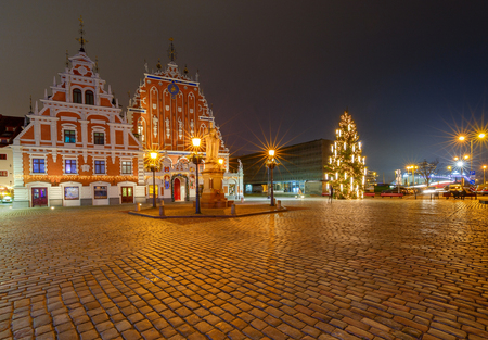 Riga. Christmas tree at the Town Hall Square. Stock Photo