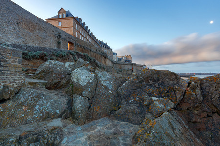 Saint Malo. The old fortress wall. Stock Photo