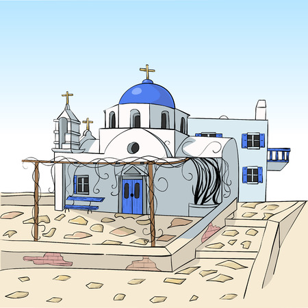 Traditional white Greek church with a blue dome. Illustration. Иллюстрация