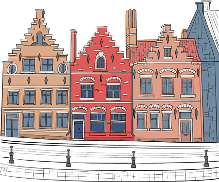 Traditional multi-colored medieval houses in the historical part Bruges. Belgium. Illustration