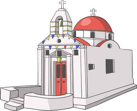Traditional white Greek church with a red dome. Illustration.