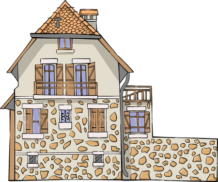 Vector. Traditional French stone house.