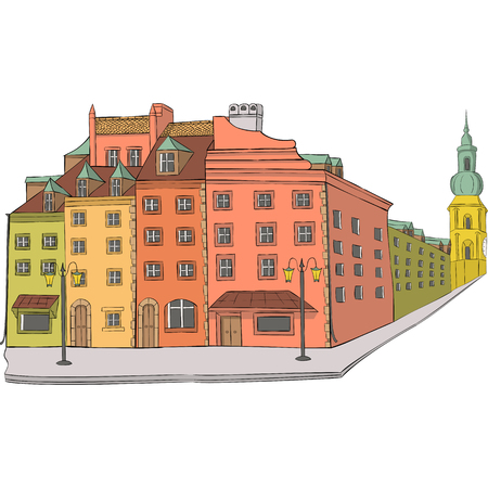 Multicolored facades of houses on the Royal Square in old Warsaw. Vector. Ilyustration.
