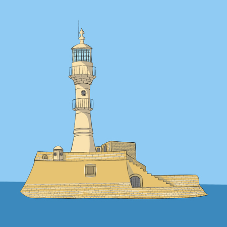 Old stone lighthouse in Chania. Stock Photo