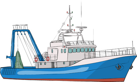 Fishing seiner of blue color on a white background.
