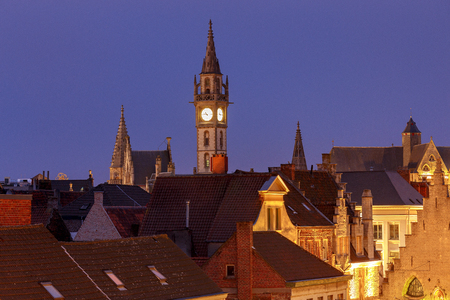 Gent. Roofs and towers of the old city.