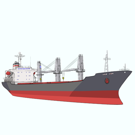 Large ocean freight ship with cranes isolated on white background.