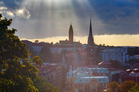 Scenic aerial view of the city from the hill at sunset. Gothenburg. Sweden.