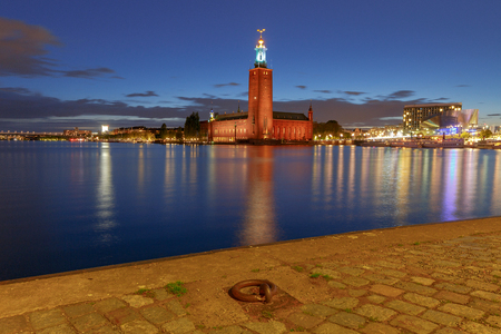 Stockholm. City Hall on the sunset. 스톡 콘텐츠