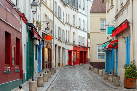 Paris. Old street on the Montmartre hill.