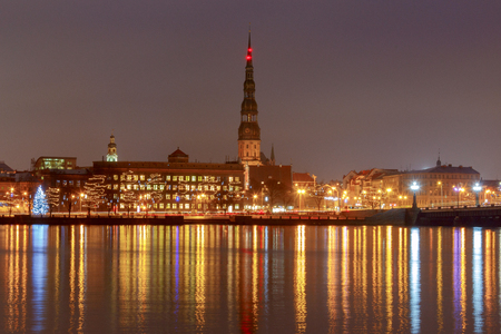 Riga. View on Daugava and the city embankment on Christmas.