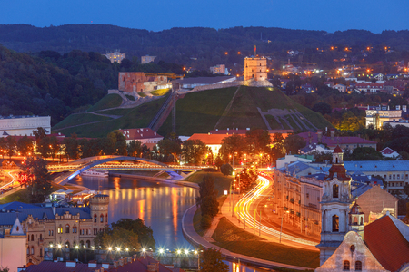 Scenic aerial view of the historic center at sunset. Vilnius. Lithuania. 版權商用圖片
