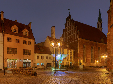 Riga. Old street at night.