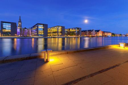 Copenhagen. City embankment at sunset.