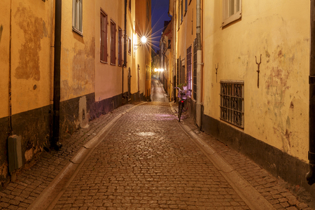 Stockholm. Old street at night.