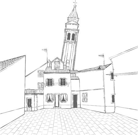Die traditionelle Architektur der Insel Burano. Italien. Vektorgrafik