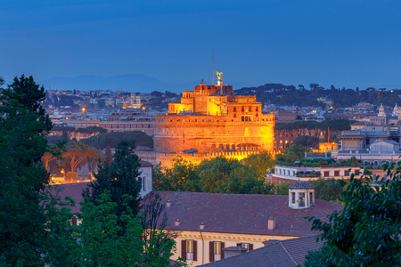 Aerial view of Rome from the hill Janiculum. Italy. Фото со стока