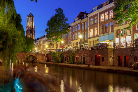 Utrecht. The citys main channel. 免版税图像