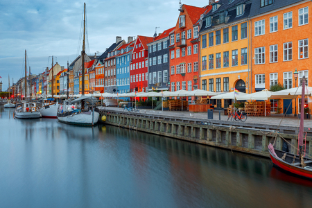 Copenhagen. The Nyhavn channel is at dawn.