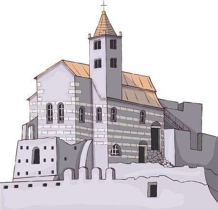 Portovenere. Cinque Terre. Church of St Peter Illustration