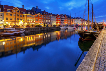 Copenhagen. The Nyhavn channel is at dawn.