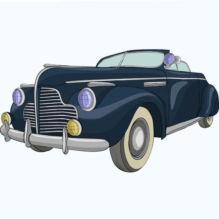 Black old cabriolet car on a white background. Ilustração