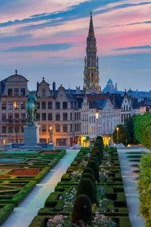 Brussels. Mountain of Arts at sunset.