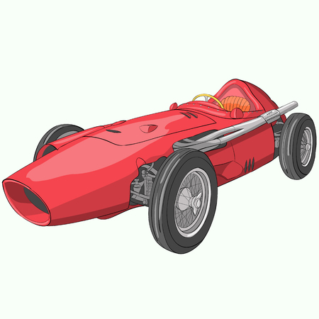 Vector illustration of a rare red racing car.