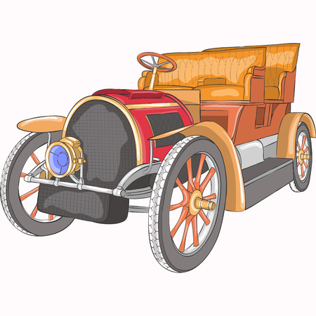 Old collectible car on a white background. Illustration.