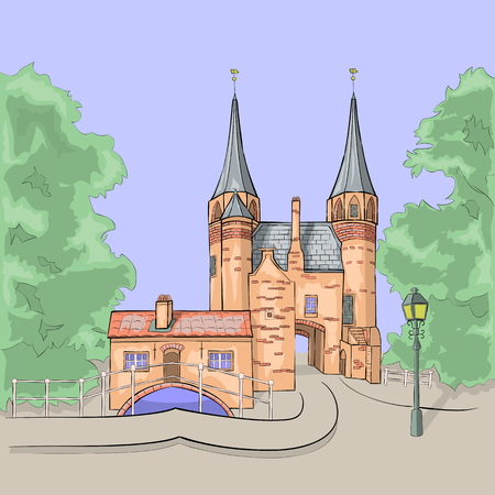 Scenic view of the old medieval city gates of Delft. Holland. Netherlands. Illustration. Vector.