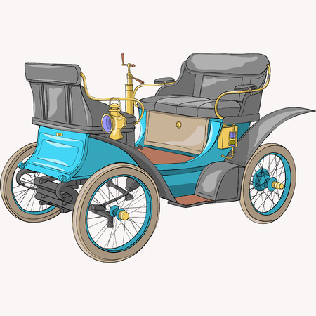 Old collectible blue car on a white background. Illustration.