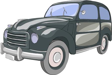 Vector. Black passenger car on a white background.