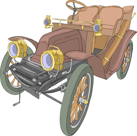 Old collectible brown convertible on a white background. Illustration.