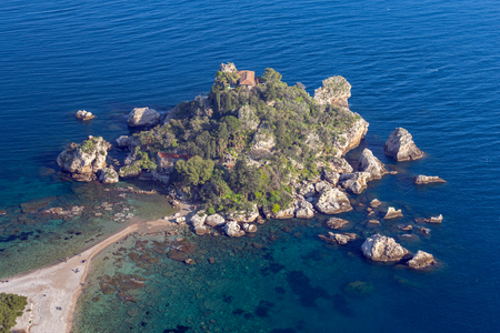 Aerial view of Isola Bella on a sunny day. Taormina. Sicily. Italy.