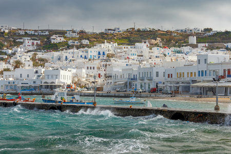 Fishing boats in the old port of Chora on a sunny day. Mykonos. Greece. Imagens