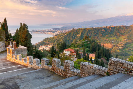 Taormina. Aerial view of the city.