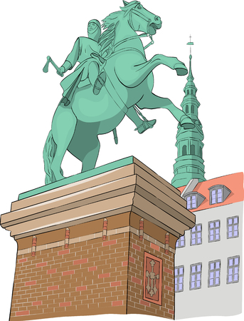 Equestrian statue of Bishop Absalon on the background of the town hall. Copenhagen. Denmark. Vector.