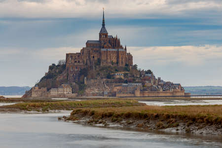 Mont Saint-Michel at sunset.