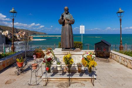 Castellammare del Golfo, Italy - February 25, 2019: Monument to Padre Pio