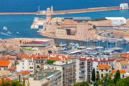 Marseilles. Aerial view of the fort of St. John and the harbor. Stok Fotoğraf