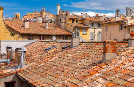 Aerial view of the old tiled roofs of the old city. France. Aix-en-Provence.